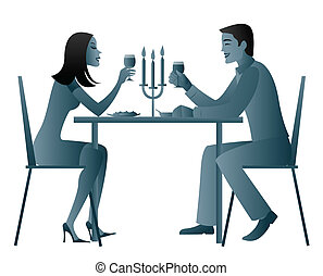 candle light dinner - Couple eating candlelight dinner