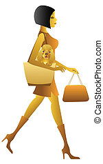lifestyle woman urban - Woman carrying dog in her purse...