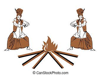 bangra festival - Two men celebrating Lohri festival,...