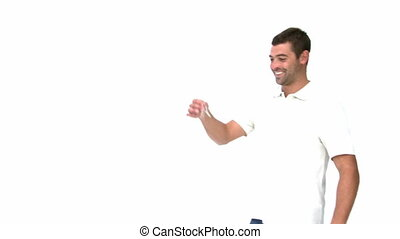 Man showing a for sale sign against a white background
