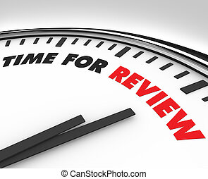 Time for Review - Clock - White clock with words Time for...