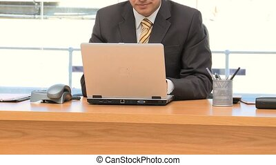 Businessman working on the laptop an office
