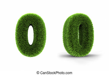 Grass Number Zero - Grass number zero, isolated on white...