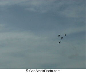 group of fighter fly in sky