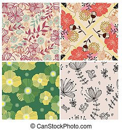 4 flower seamless pattern  - 4 flower seamless pattern