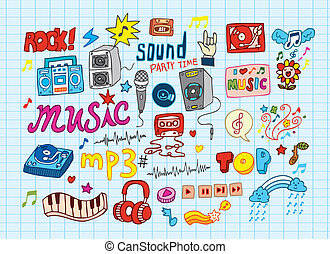 big vector set : Sketchy music illu