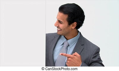 Man showing a white board isolated on a white background