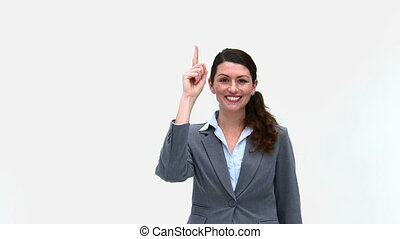 Happy businesswoman in front of the