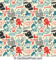 Funny creatures collection. Seamless pattern. Vector...