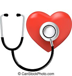 Stethoscope And Heart, Isolated On White Background, Vector...