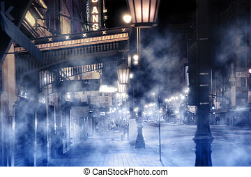 foggy street scene with lights and people at night