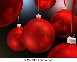 Christmas Baubles - Red christmas baubles hanging on red...