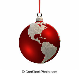 Christmas Bulb With Continents - Americas - Christmas red...