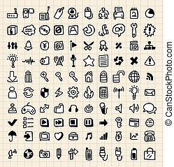 100 hand draw web icons
