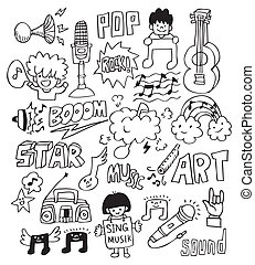 hand draw music element  - hand draw music element