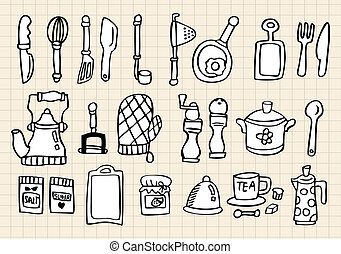 Kitchen element,hand draw  - Kitchen element,hand draw