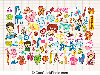 hand draw cute cartoon element,vect