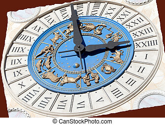 Roman Zodiac Clock - A Roman clock with gold zodiac signs on...