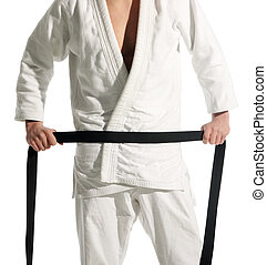 joven, niños, preparando, actuar, Judo