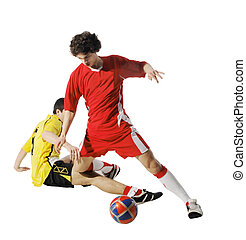 Boy with soccer ball, Footballers on the white background...