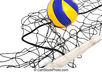 Volleyball ball and volleyball net n the white background