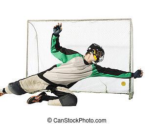 floorball goalkeeper on the white background