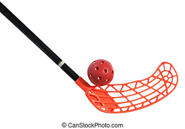 old floorball stick and ball on the white background