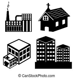 different building - illustration of different building on...