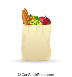 fresh fruits in bag - illustration of fresh fruits in bag on...