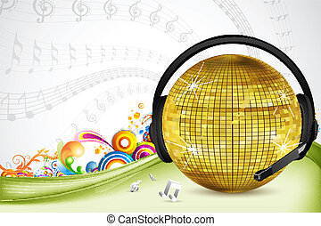 discoball with head phone - illustration of discoball with...