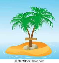 coconut tree with direction board