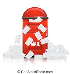 mail box with letters - illustration of mail box with...