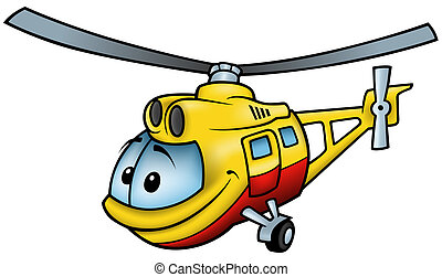 Helicopter - colored cartoon illustration, vector