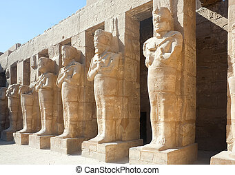 Statues in Karnak temple, Luxor, Egypt - Ancient statues in...