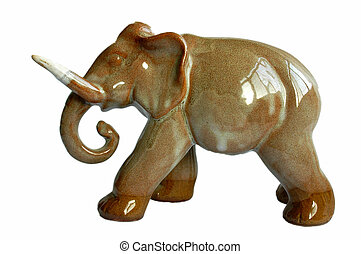 Porcelain elephant - View of a porcelain elephant on white...