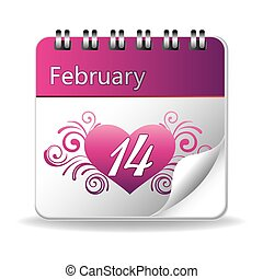 valentine's day - vector calendar of february 14