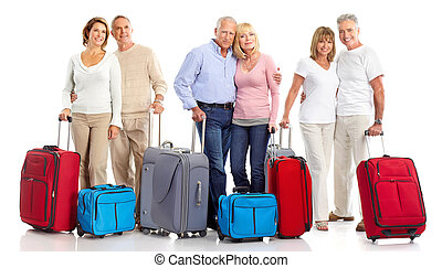 Senior couple travelers with bags. Isolated over white...