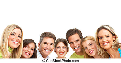 Happy people - Happy funny people Isolated over white...