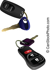 Two car ignition keys with remote