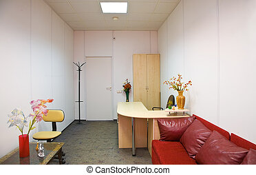interior of office room with red sofa