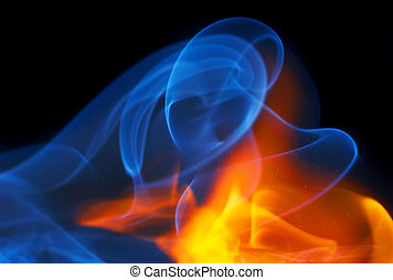 Photo of fire with a smoke on a black background