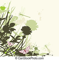floral background with clover - vector floral background...