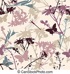 floral seamless pattern with butterflies and dragonfly
