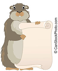 groundhog with scroll - cute groundhog day vector background