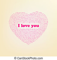 I love you in different languages. EPS 8 vector file...