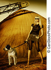 Photo of girl and labrador walking - Photo of girl and dog...