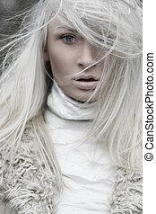 beautiful lady in fur