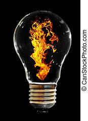light bulb with fire on the black