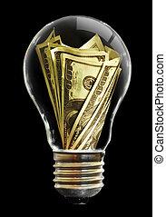 light bulb - The light bulb  and dollar