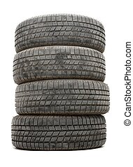 Tyres - A pile of winter tyres on white background